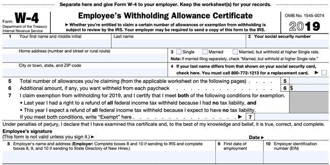 irs form w 4 2019  11 W11 Form: How To Fill It Out and What You Need to Know