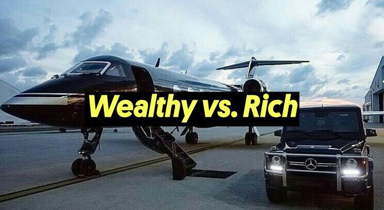 rich vs wealthy displayed by private jet and mercedes