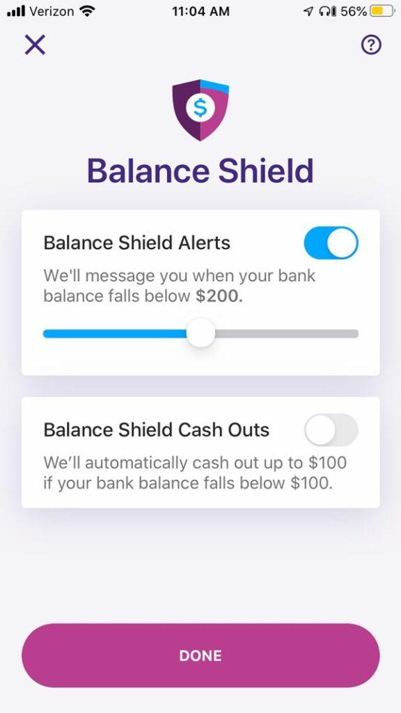 Earnin app review Balance Shield photo