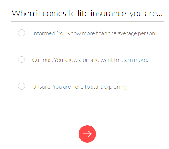 Ladder life insurance review initial question image