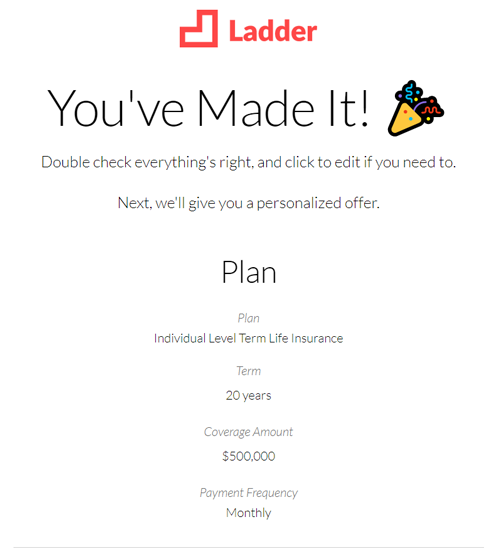 Ladder life insurance review congratulations image
