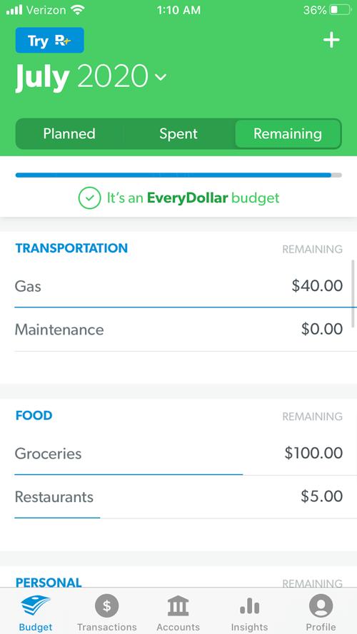 "EveryDollar review ""remaining"" tab image"