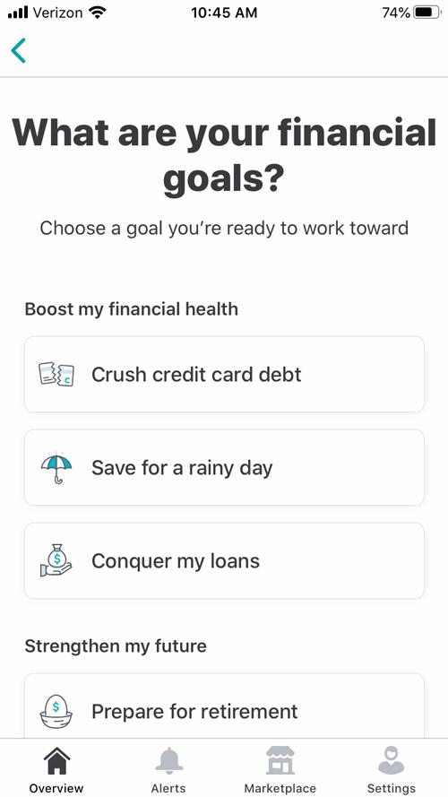 Mint review financial goals image