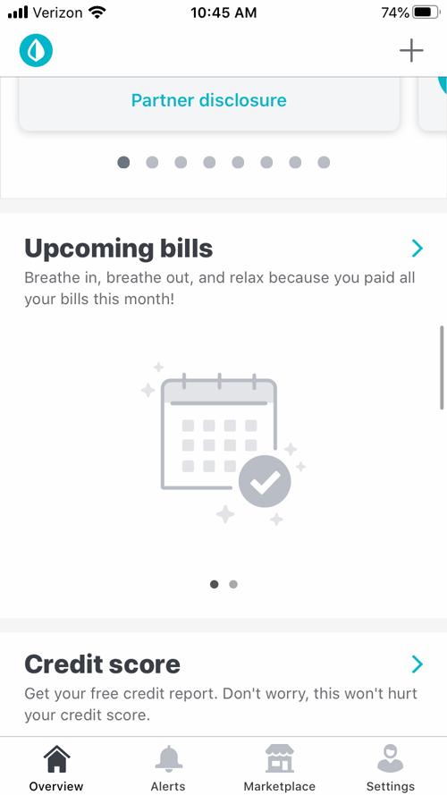 Mint review upcoming bills image